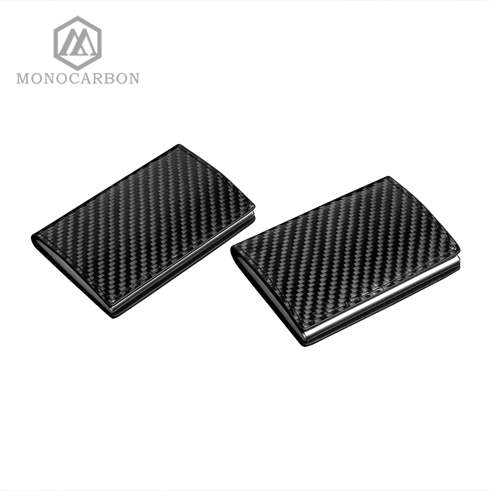 Image 2 - Monocarbon Carbon Fiber Name Card Box Holder Cardcase Luxury Business Card Holder Case Men Visiting Card Case Box-in Card & ID Holders from Luggage & Bags