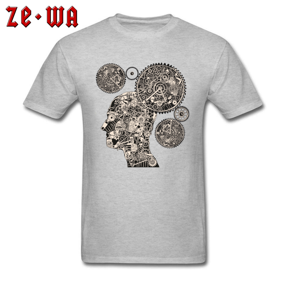 Tops T Shirt T Shirt Clock Machine Gear Mechanism Autumn Short Sleeve 100% Cotton Crew Neck Men Tshirts Slim Fit Graphic Clock Machine Gear Mechanism grey