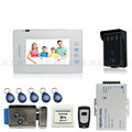 7 inch touch key video doorphone intercom system access control system + 1 waterproof RFID Camera +Electric Lock In Stock
