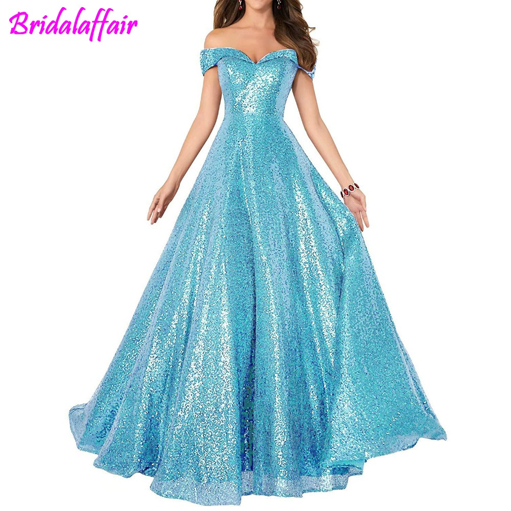 Sexy Off Shoulder   Prom     Dresses   2018 A Line Shiny Sequined Party Gowns Long   Dress   Boat Neck   Prom     Dresses   robe de soiree
