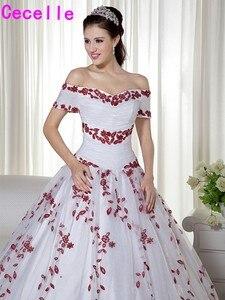 Image 3 - Wit en Donker Rode Twee Tonen Baljurk Trouwjurken Prinses Uit De Schouder Non Traditionele Vintage Kleurrijke Bruidsjurken