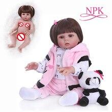 NPK 48 CM muñeca bebé reborn niña muñeca en vestido rosa cuerpo completo suave silicona realista baño juguete impermeable