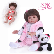 straight hair 49CM bebe doll reborn  toddler doll baby girl in panda dress  full body soft silicone  realistic baby bath toy