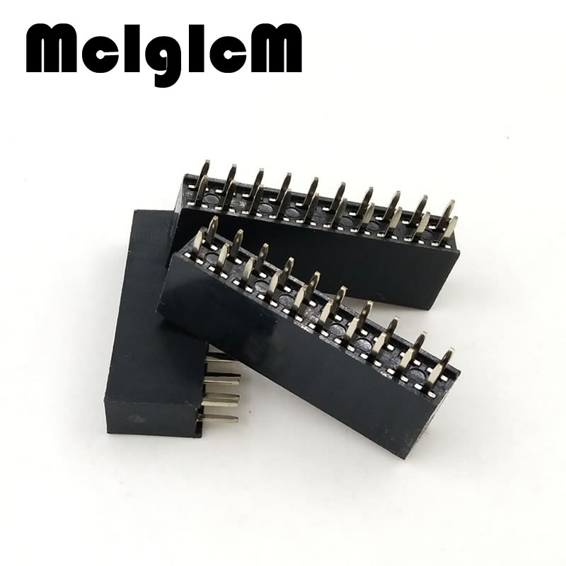 20pcs/lot Pin Header Female 2x10 Pin 20 Pin 2.54mm Pitch Double Row Female Straight Header Pitch Free Shipping 2 pcs new 2 54mm pitch 2x20 pin 40 pin female double row long pin header strip pc104