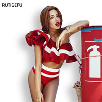 RUTGEFU Quality 2017 New Sexy Swimsuit High Waist Swimsuit Ladies Retro Swimsuit Brazilian Woman Beach Wear