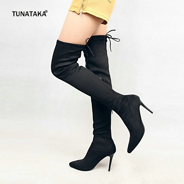 89b854ead33 US $33.04 48% OFF Women's Flock Sexy Over the Knee Boots Thin High Heel  Thigh Boots Pointed Toe Zipper Fall Winter Ladies Shoes Plus Size 43  2018-in ...