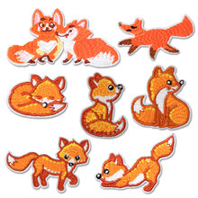 Iron on Patches for Clothing Applique Convex Stickers Fox Badges for Backpack Patch Embroidery Stripe Applications on Clothes(China)