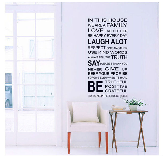 Home Decor Wall Stickers English Poetry Large Wall Art Decals Diy Bathroom Windows Mirror Posters Diy