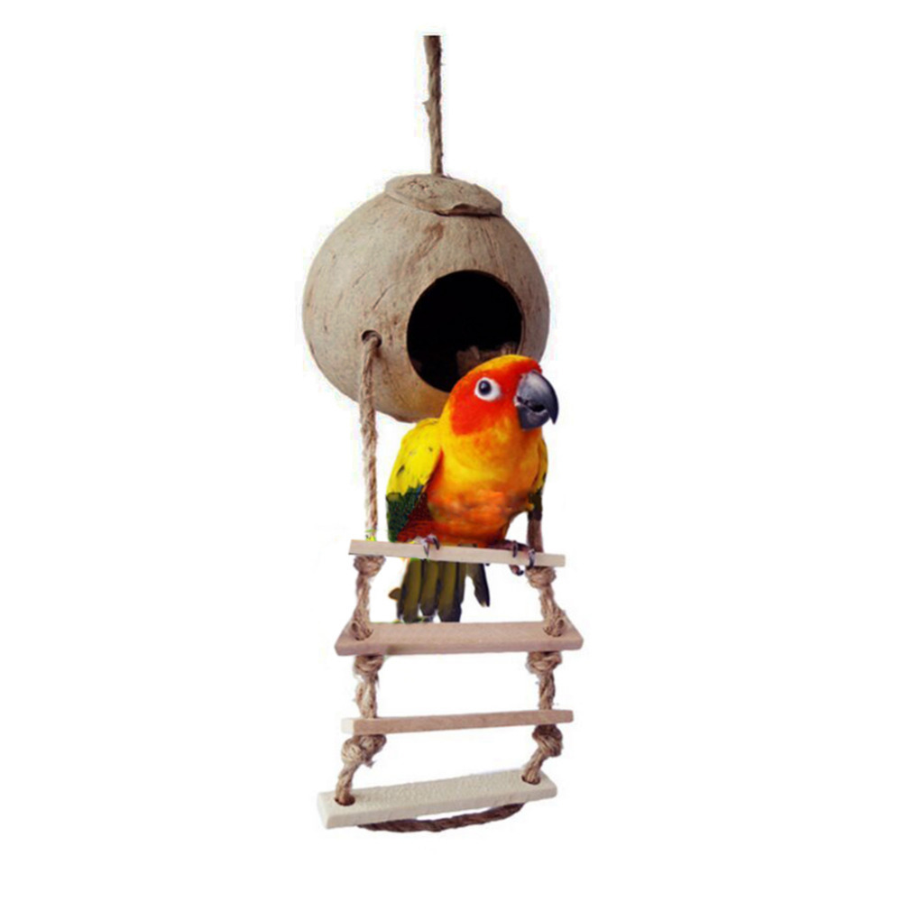 Natural Wooden Coconut shells design pets bird toy nest ladder cage toys parrot Bird hole home supply
