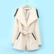 Long Double Breasted With Belt womens wool coats Large Red Black S-xl casaco inverno feminino bomber jacket women jacket 1649