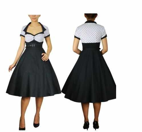 plus size vintage 50s style Polka Dot Summer Party dress White Bodice  Rockabilly Polka Dots Dresses Rock and Roll Swing Dance