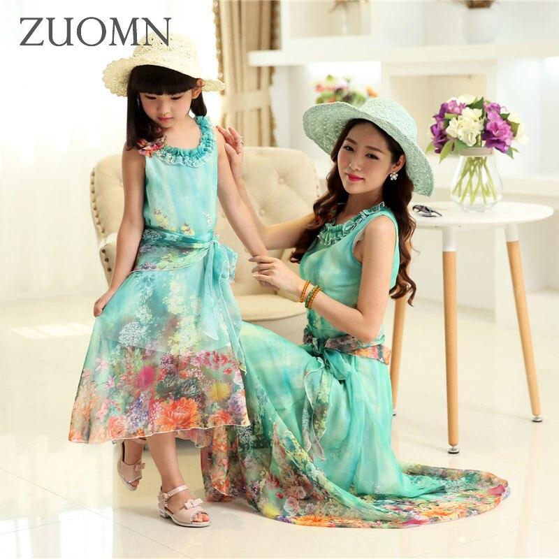 Fleur filles mère fille robes mignon famille Look correspondant tenues enfants vêtements maman et fille enfants plage robe GH207
