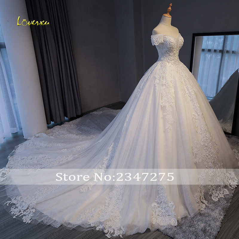 Image 3 - Loverxu Gorgeous Appliques Lace Chapel Train A Line Wedding Dress 2020 Luxury Beaded Boat Neck Sexy Bridal Gown Vestido de NoivaWedding Dresses   -