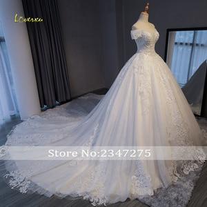 Image 3 - Loverxu Gorgeous Appliques Lace Chapel Train A Line Wedding Dress 2020 Luxury Beaded Boat Neck Sexy Bridal Gown Vestido de Noiva