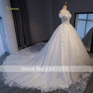 Image 3 - Loverxu robe de mariée trapèze en dentelle avec des Appliques, robe de mariée de luxe, col bateau et perles, Sexy, 2020