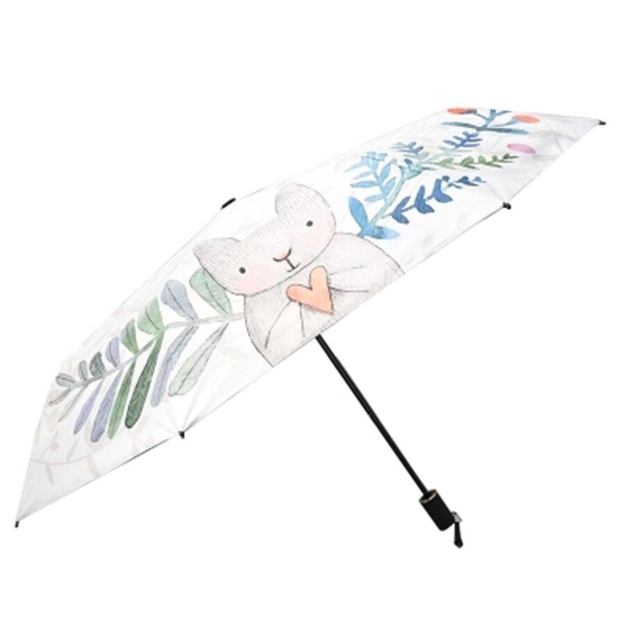 Карманный мини Зонт от дождя для женщин, Автоматический складной зонтик с цветочным рисунком, прозрачный зонтик, Детские УФ бытовые товары,