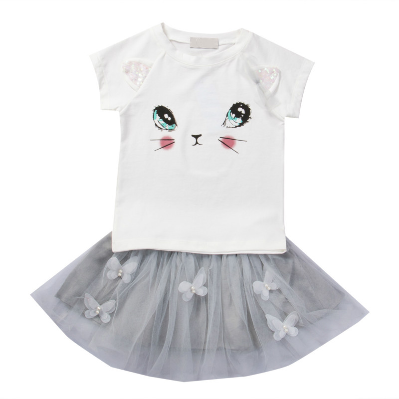 Hot Casual Princess Toddler Kids Baby Girls Outfits Clothes Cute Cat Printed T-shirt Tops Tutu Tulle Skirt 2PCS Sweet Sets 2pcs children kids baby girls outfit sets chiffon t shirt tops shorts sleeveless summer outfits suit cute girls clothes sets