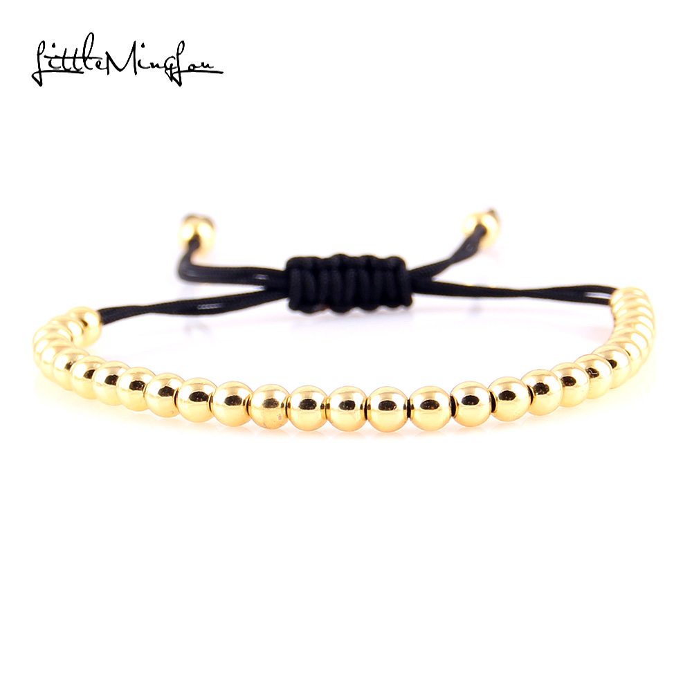 Little MingLou Fashion High Quality Brand 4mm Copper Round Beads Braided Macrame Men Bracelets & Bangles For Women Jewelry Gift