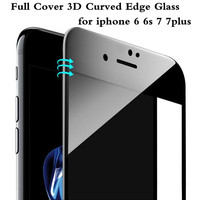 For iPhone 6 6S Plus Phone Screen Protector Film 9H 0.26mm Glossy 3D Curved Carbon Fiber Soft Edge Tempered Glass For iPhone 7