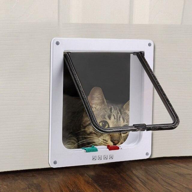 4 דרך הניתן לנעילה כלב חתול חתלתול דלת אבטחה דש דלת ABS פלסטיק S/M/L חיה קטן לחיות מחמד חתול כלב שער דלת לחיות מחמד אספקת YZ