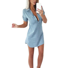 2019 summer Korea Retro V-shaped lapel short-sleeved thin denim dress loose casual solid color short College style