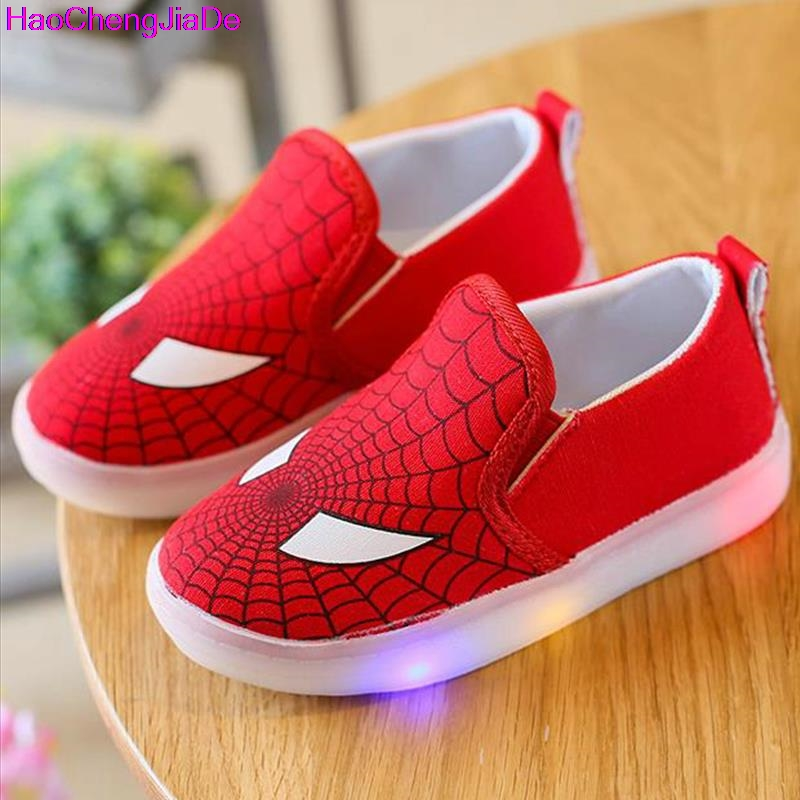 Boys Fashion Sneakers Children Shoes With Light 2017 Spring Breathable Chaussure Led Enfant Sport Running Girls Shoes Size 21-30