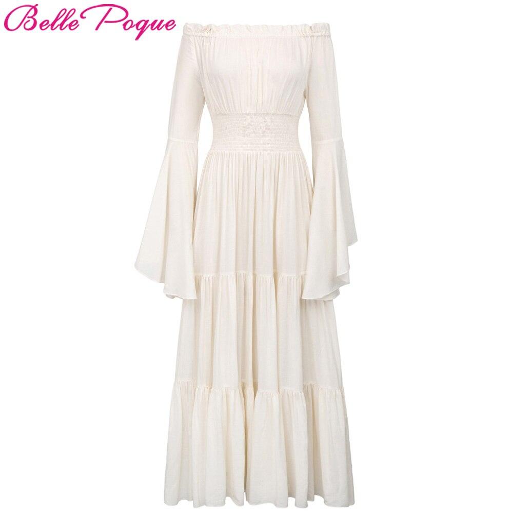 Women Retro Vintage Long Sleeve Maxi Dresses 2018 Autumn Off Shoulder Cotton Renaissance Victorian Gothic Ruffle Medieval Dress