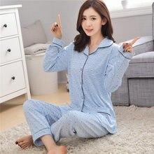 467dee82e39a Korean cotton long sleeve women pyjamas 2 piece tops and pants spring  autumn women sleepwear set