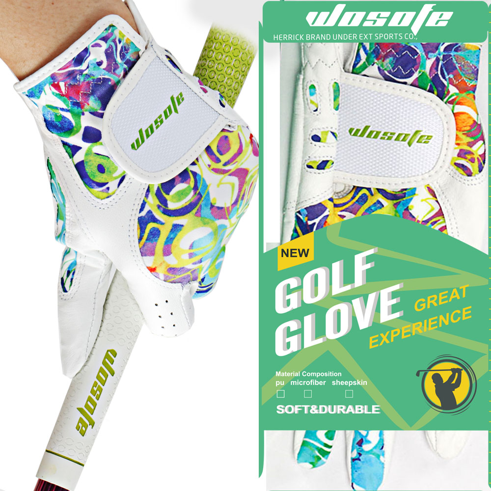 Golf glove Sheepskin women's Gloves Left Right Hand Breathable Phantom color golf glove golf accessories free shipping цена