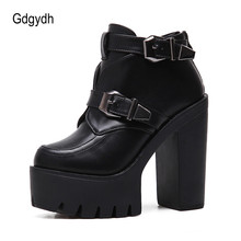 Gdgydh Drop Shipping Spring Autumn Women Boots Round Toe Platform Female Ankle Boots Fashion Buckle Black Leather Ladies Shoes