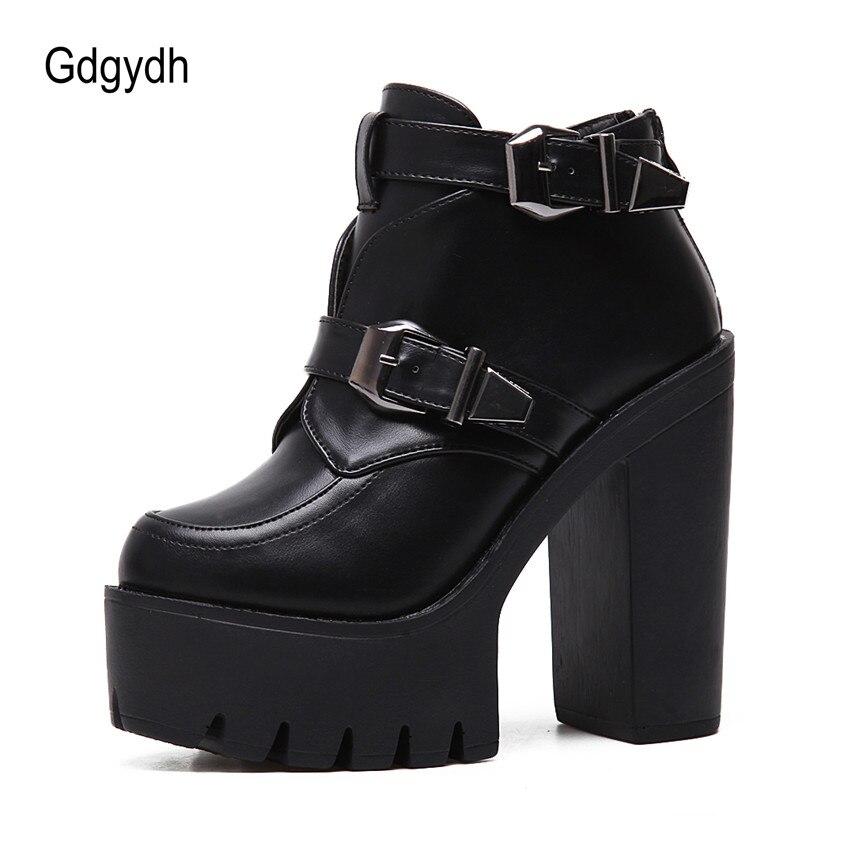 Punta Plataforma Drop Hebilla Tobillo Negro Moda Señoras Black Otoño Shipping Mujer Primavera Mujeres Gdgydh Botas Cuero Redonda Zapatos FY8wqd8