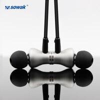 Sowak Metal Earplus cancelamento de ruído Fone de Ouvido Fones De Ouvido estéreo Sem Fio Bluetooth 4.1 IPX4 À Prova D' Água de alta qualidade