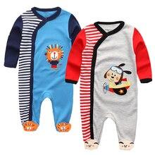 Одежда для новорожденных; цельнокроеный Детский комбинезон с длинными рукавами и изображением животных для маленьких мальчиков и девочек; Комбинезоны Костюмы для младенцев