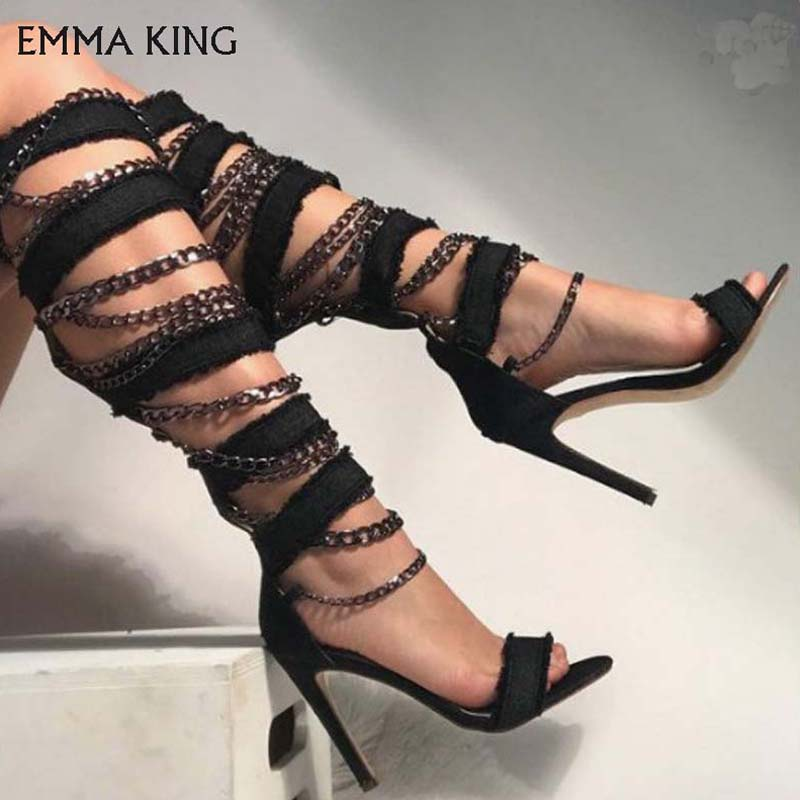 EMMA KING Black Chain Decorated Sexy Knee length Women Shoes Summer Fashion Ladies Sandals Plus Size 35 43 Sandalia Feminine