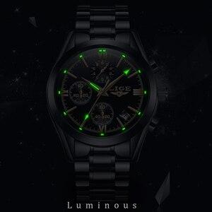 Image 3 - LIGE Mens Watches Top Brand Luxury Fashion Business Quartz Watch Men Sports Full Steel Waterproof Black Clock Relogio Masculino