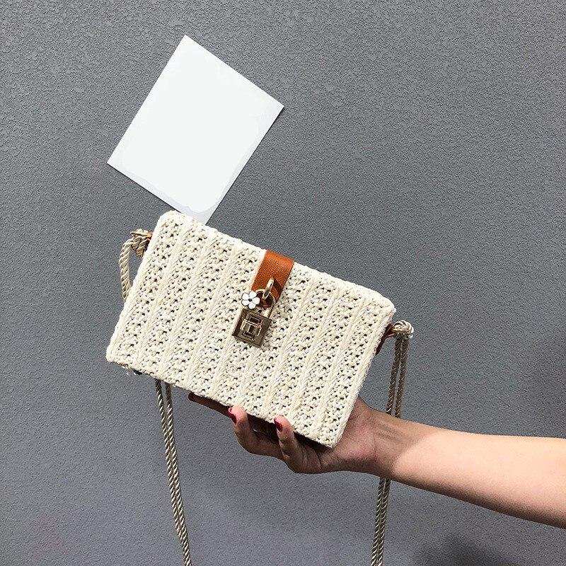 Paglia Telefono Mini Bag Nero Crossbody Di estate Piccolo Chiusura Borse Borsa Ragazze Buccia A bianco Delle Del A Signore donne Mais Sacchetti Tessuto camel Modo Flap il wtqvSTd7