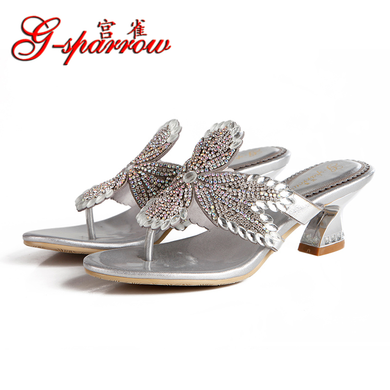 2017 Summer Sexy Girl Flip-Flops Flower Leaf Rhinestone Slippers Women High Heels Sandals Crystal Sandals Woman Casual Shoes 2016 sexy flip flops summer style sandals rhinestone flats shoes woman with bowtie sweet slippers casual women shoes xwz1918