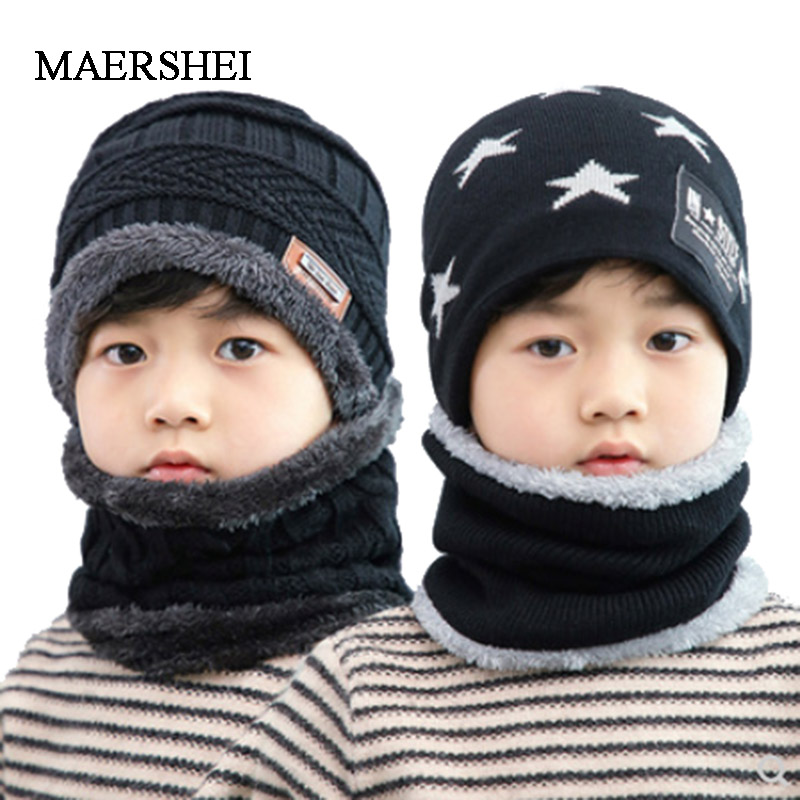 MAERSHEI 2019 Hot Child 2pcs Winter Balaclava Beanies Knitted Hat And Scarf For 3-12 Years Old Girl Boy Hats Kids Caps Ski Cap