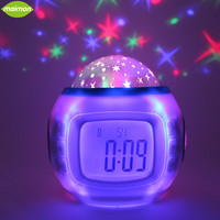 1pcs Music Starry Star Sky Projection Alarm Clock Calendar Thermometer Functions Digital LED Projector Horloge Reloj
