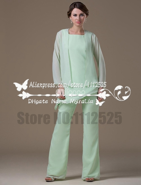 21eaf9c436b AMP1076 mother of the bride pant suits aqua 3 Piece Chiffon outfit for  grandmother
