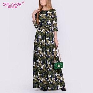 Image 3 - S. FLAVOR mujeres elegante vestido estampado Floral moda cuello redondo manga tres cuartos Vestidos largos otoño elegante Vestidos de fiesta