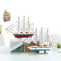 Mediterranean Style Ship Model Nautical Decor Home Crafts Marine Blue Wooden Sailing Ship Wood Boat Home