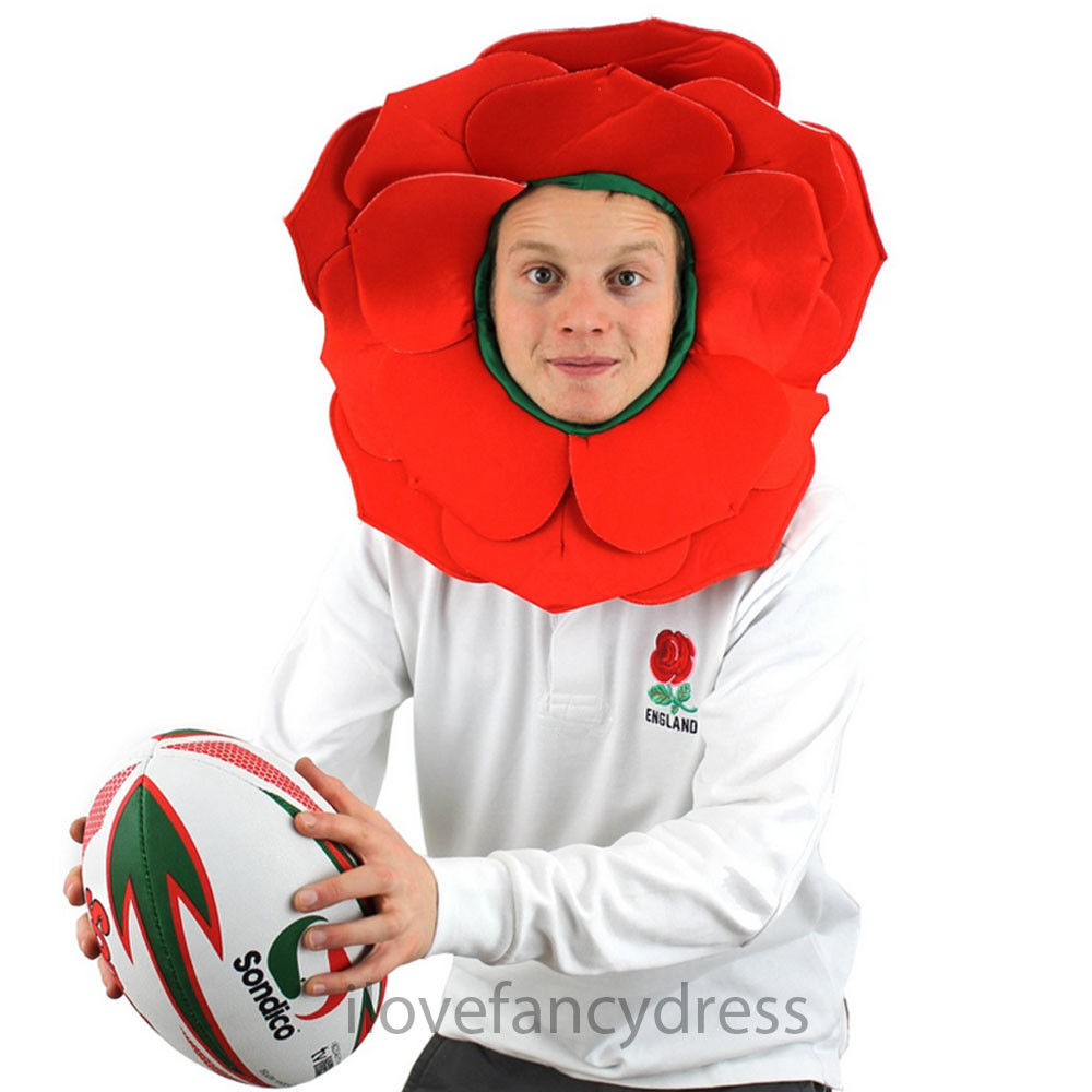ROSE HAT ENGLISH ROSE FANCY DRESS ENGLAND SPORT SUPPORTERS RED FLOWER RUGBY HAT