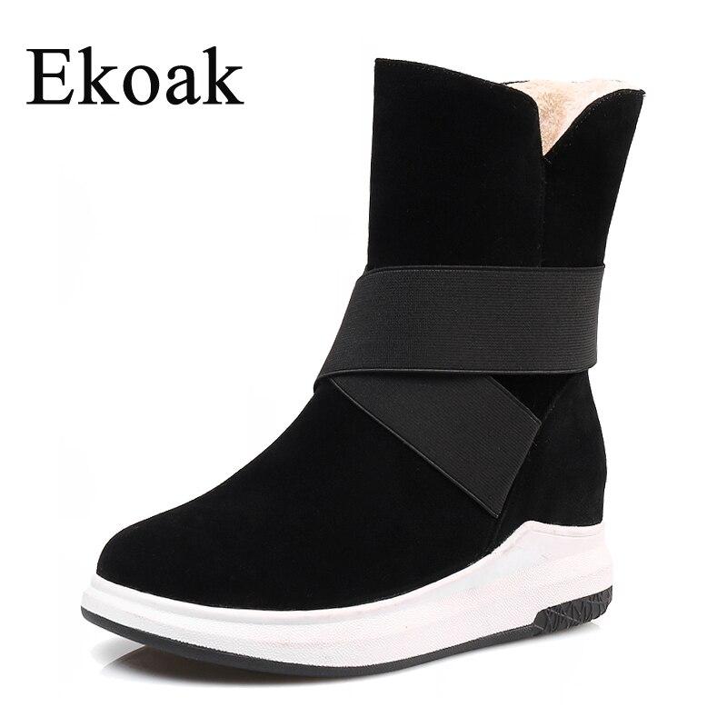 Ekoak/новые женские зимние сапоги, модные зимние сапоги, теплые плюшевые ботильоны, женская обувь на платформе, женские резиновые сапоги из фл...