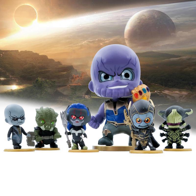 6pcs Avengers 3 Infinity War Figure Q Version Action Figure Thanos PVC Collectible Model Toys for Kids 2C015