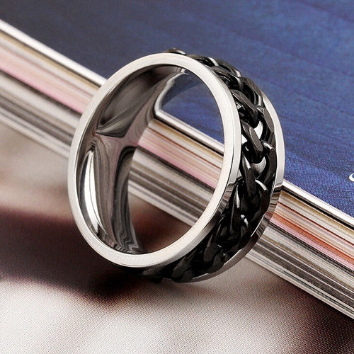 Image 4 - 30pcs High Quality Comfort fit Men's SPIN Chain Stainless steel Spinner Rings Wholesale Jewelry Job Lots-in Rings from Jewelry & Accessories