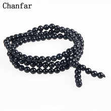 Chanfar 3 Wraps Natural Black Stone Bianshi Bracelet Of Genuine Natural Beads Bracelet Jewelry For Women Men(China)