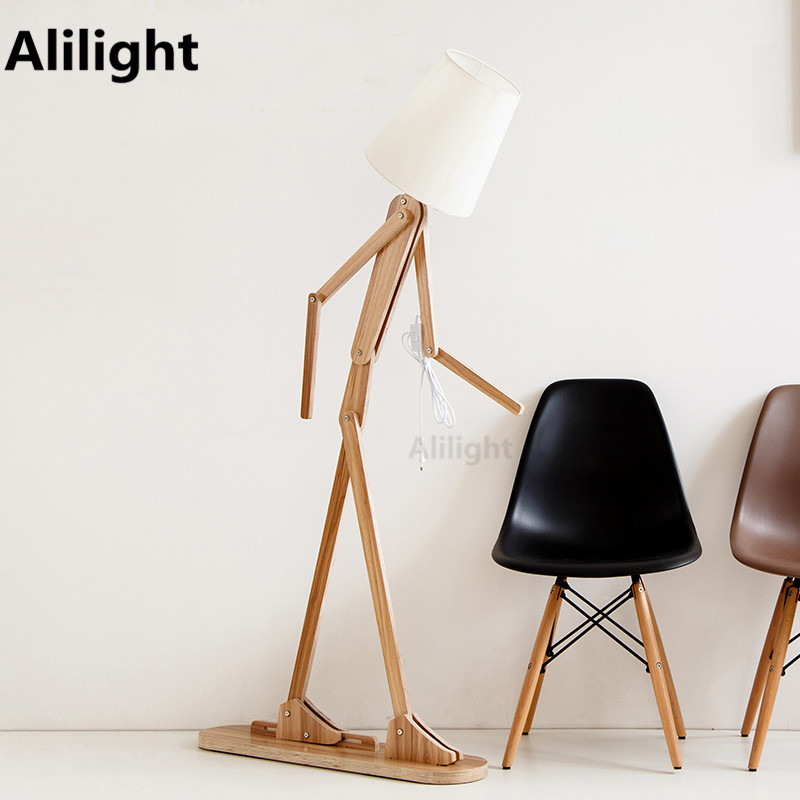 Moder creative wooden people floor lamp linen lampshades classical type people floor lamp materialwoodlinen people floor lamp aloadofball Image collections