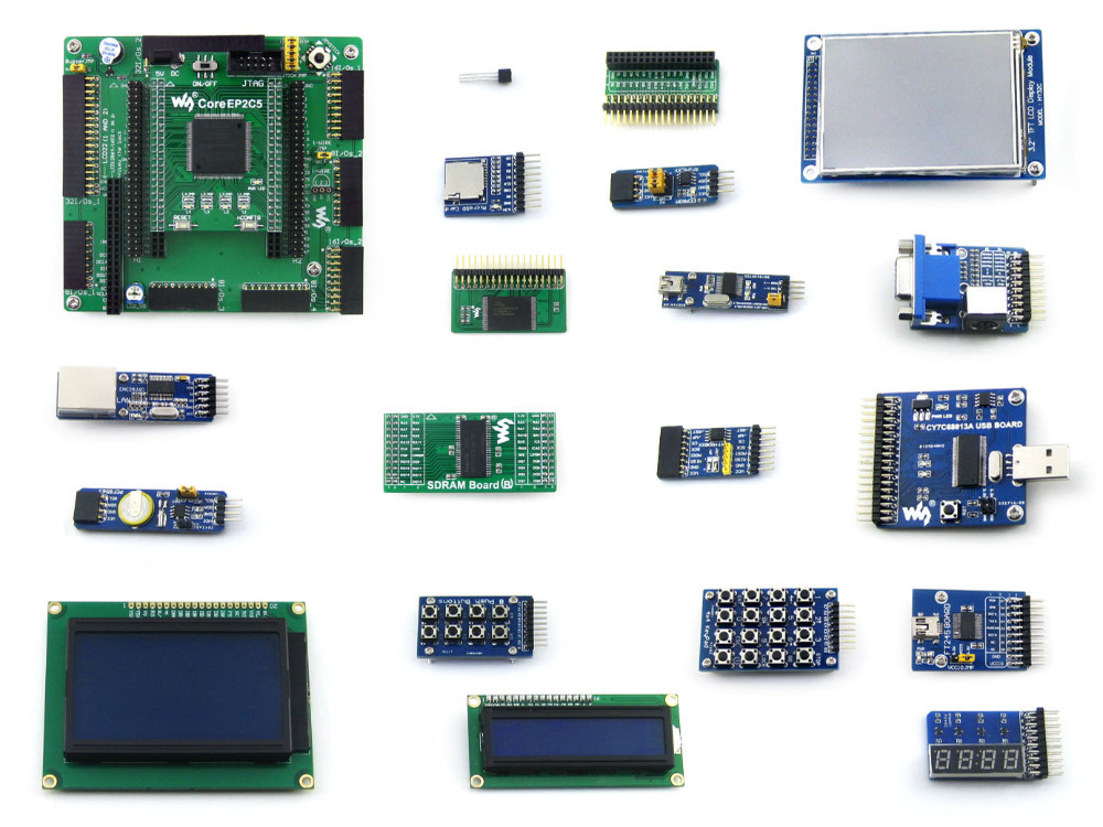 Waveshare EP2C5 EP2C5T144C8N ALTERA Cyclone II FPGA Development Board + 19 Accessory Modules Kits = OpenEP2C5-C Package B altera cyclone board ep2c5 ep2c5t144c8n altera cyclone ii fpga development board 19 accessory kits openep2c5 c package b