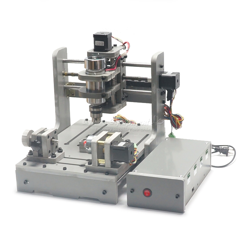 DIY Mini 4axis CNC milling machine 300w wood lathe Parallel port hot sale diy cnc 2030 parallel port 4 axis mini wood milling router dc spindle 300w 3 175mm drill tip